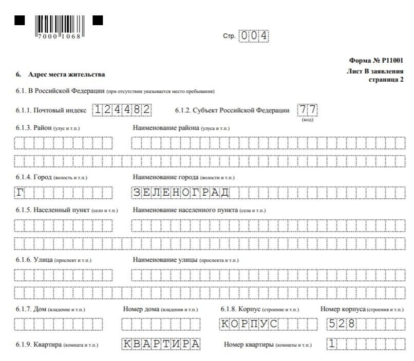 заполнение заявления по форме р11001 - страница 4